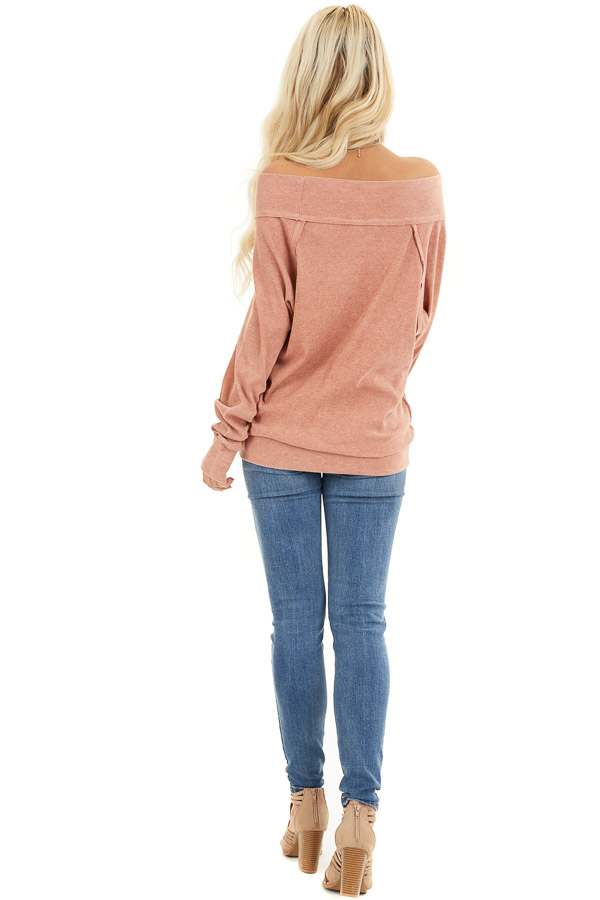 Terracotta Off the Shoulder Ribbed Knit Long Sleeve Tunic back full body