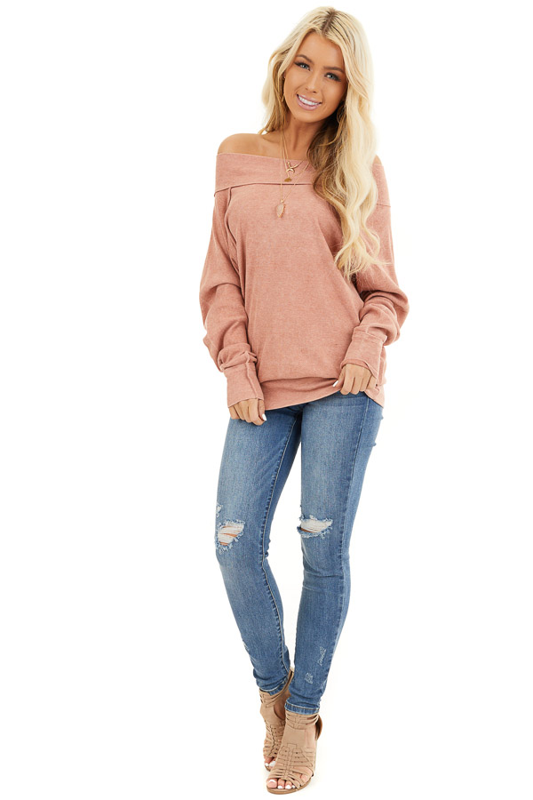 Terracotta Off the Shoulder Ribbed Knit Long Sleeve Tunic front full body