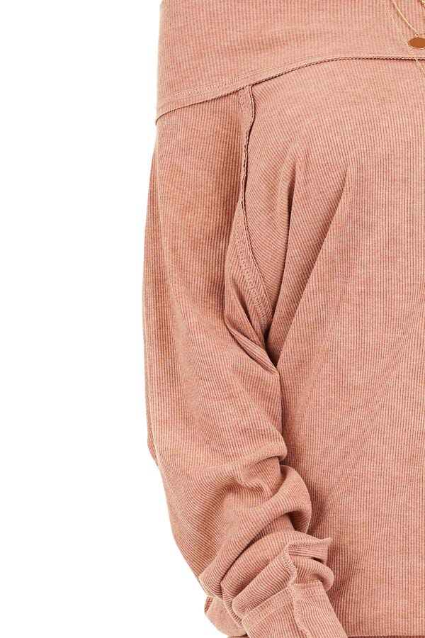 Terracotta Off the Shoulder Ribbed Knit Long Sleeve Tunic detail
