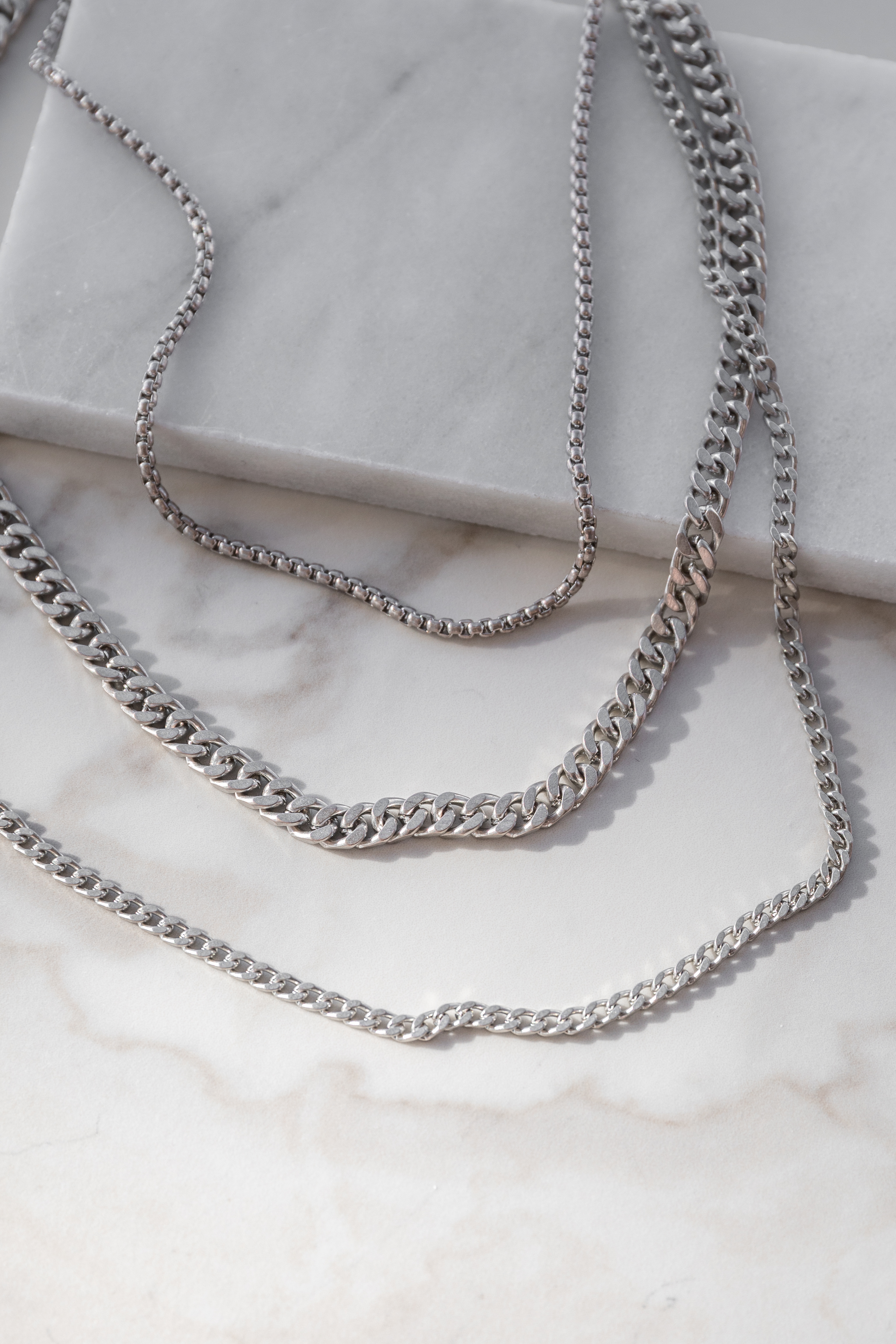 Silver Simple Layered Chain Necklace