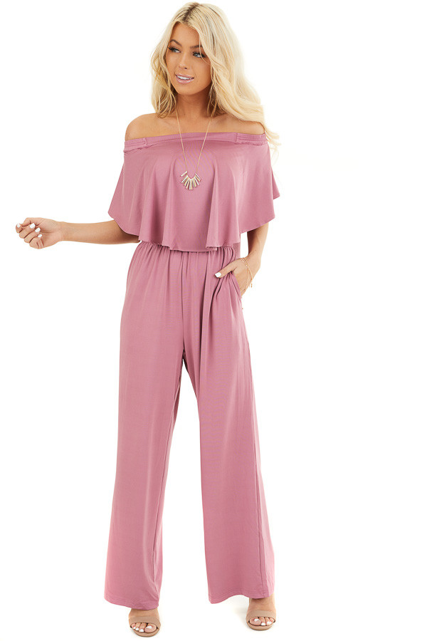 Dusty Blush Off Shoulder Jumpsuit with Ruffle Overlay front full body