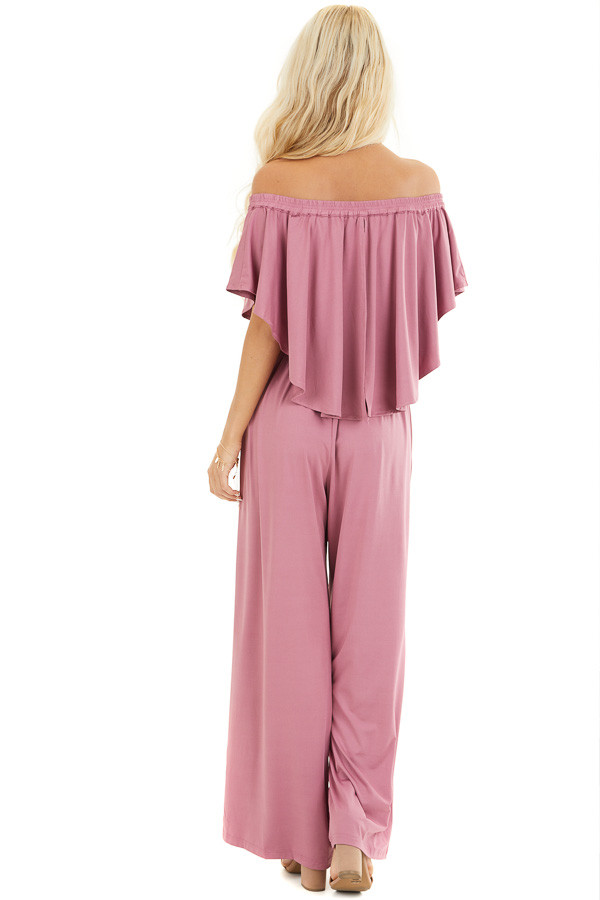 Dusty Blush Off Shoulder Jumpsuit with Ruffle Overlay back full body
