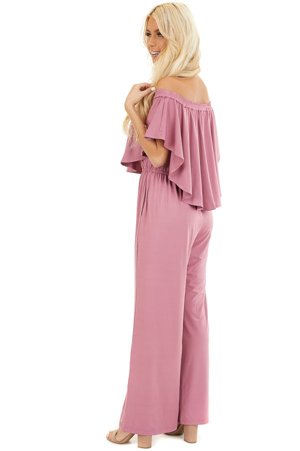 Dusty Blush Off Shoulder Jumpsuit with Ruffle Overlay side full body