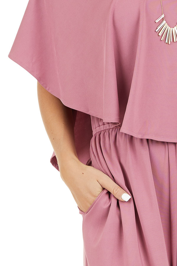 Dusty Blush Off Shoulder Jumpsuit with Ruffle Overlay detail