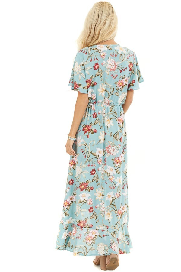 Turquoise Floral Print Maxi Dress with Ruffled Hemline back full body