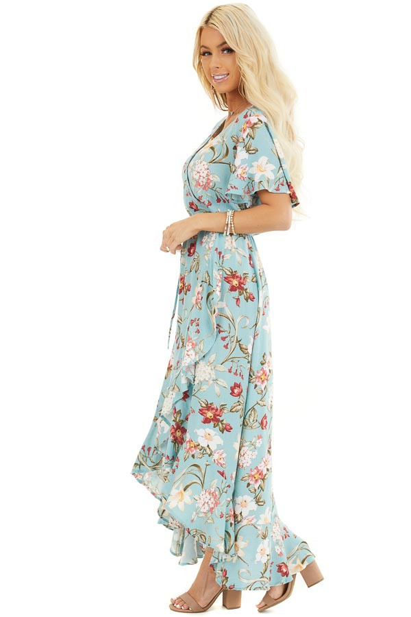 Turquoise Floral Print Maxi Dress with Ruffled Hemline side full body