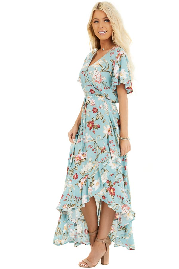 Turquoise Floral Print Maxi Dress with Ruffled Hemline front full body