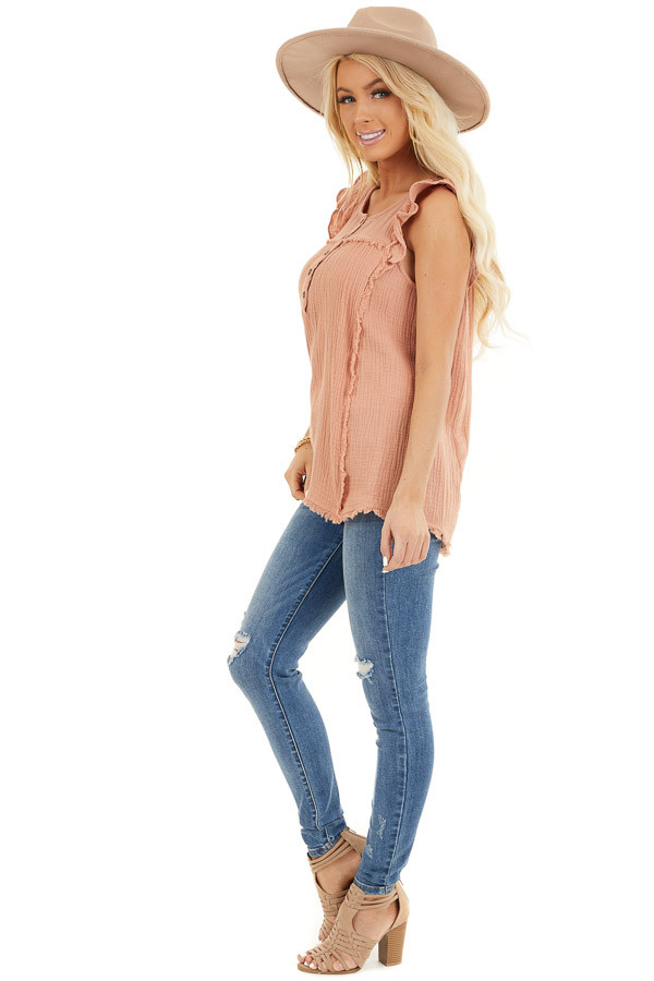 Peach Sleeveless Top with Ruffle Details and Frayed Edges side full body