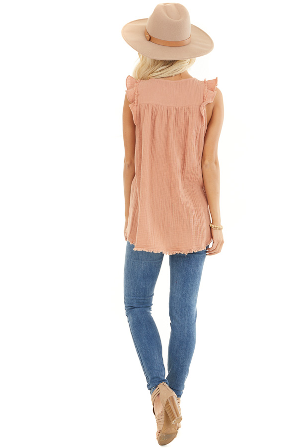 Peach Sleeveless Top with Ruffle Details and Frayed Edges back full body