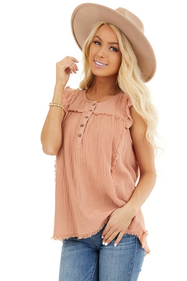 Peach Sleeveless Top with Ruffle Details and Frayed Edges front close up