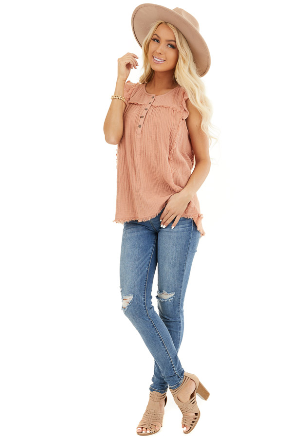 Peach Sleeveless Top with Ruffle Details and Frayed Edges front full body