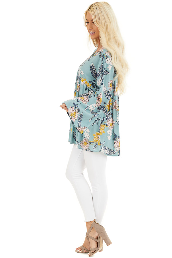 Faded Aqua Floral Long Sleeve V Neck Woven Top side full body