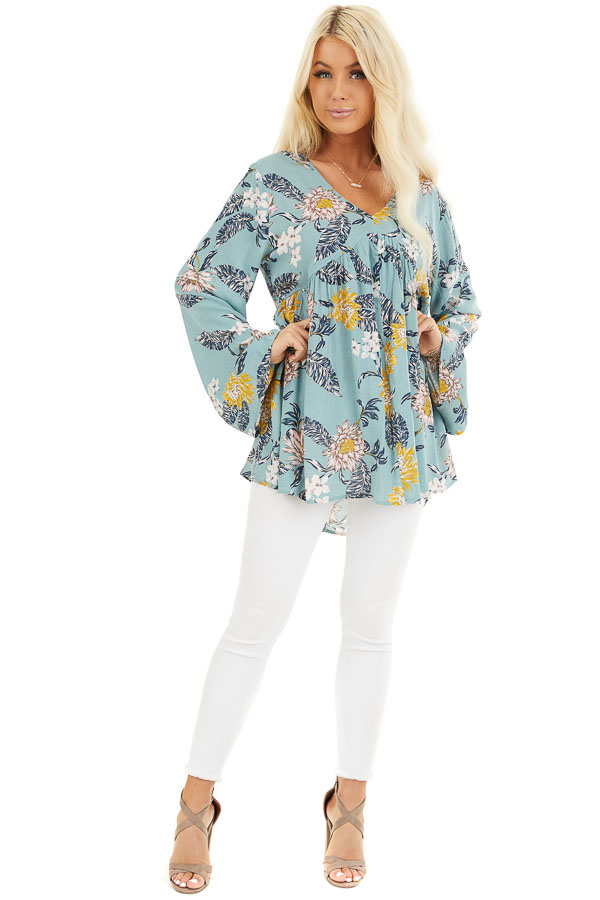 Faded Aqua Floral Long Sleeve V Neck Woven Top front full body
