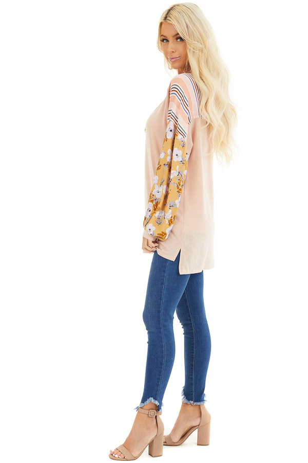 Blush Soft Knit Top with Long Multi Print Sleeves side full body