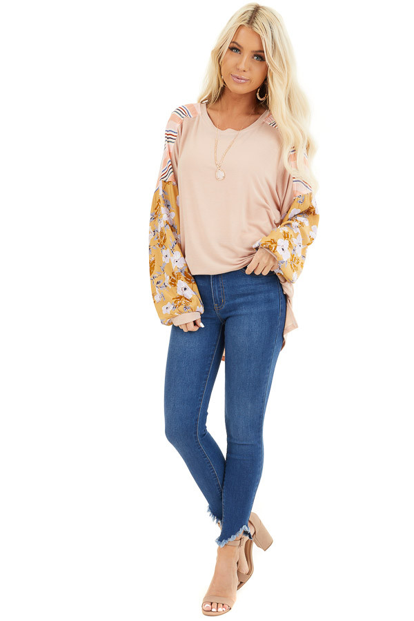 Blush Soft Knit Top with Long Multi Print Sleeves front full body