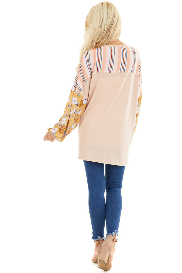 Blush Soft Knit Top with Long Multi Print Sleeves back full body