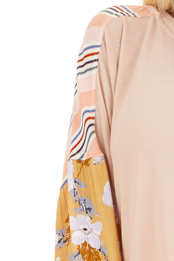 Blush Soft Knit Top with Long Multi Print Sleeves detail