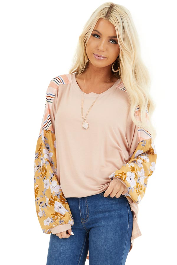 Blush Soft Knit Top with Long Multi Print Sleeves front close up