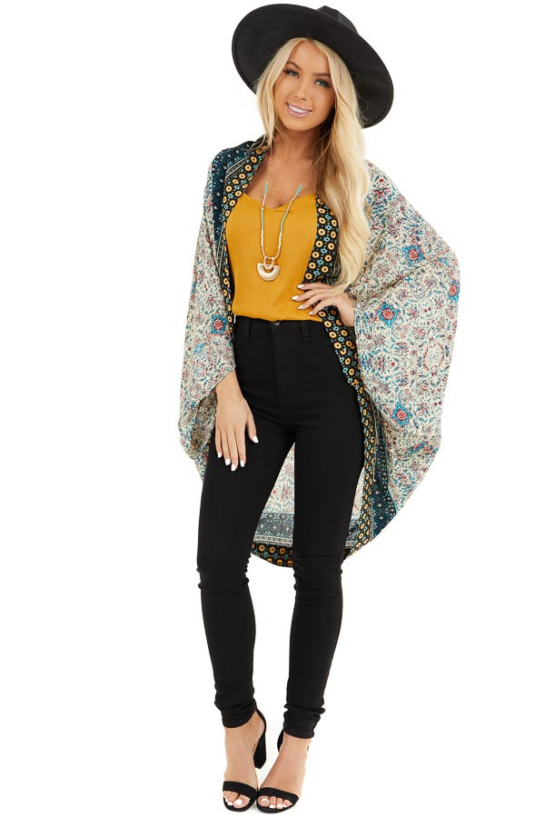 Cream and Bright Blue Printed Cocoon Kimono front full body