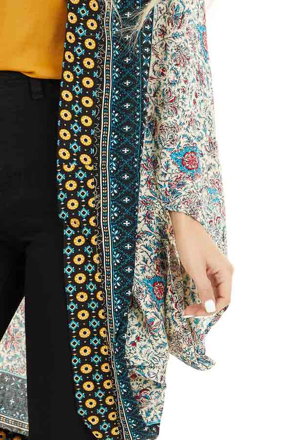Cream and Bright Blue Printed Cocoon Kimono detail