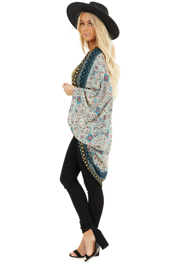 Cream and Bright Blue Printed Cocoon Kimono side full body