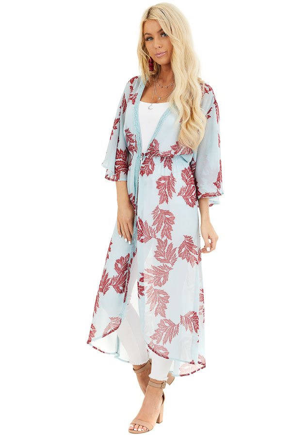 Sky Blue Leaf Patterned Chiffon Kimono with Trumpet Sleeves front full body