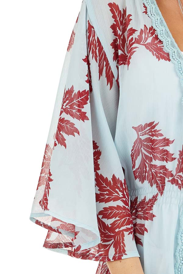 Sky Blue Leaf Patterned Chiffon Kimono with Trumpet Sleeves detail