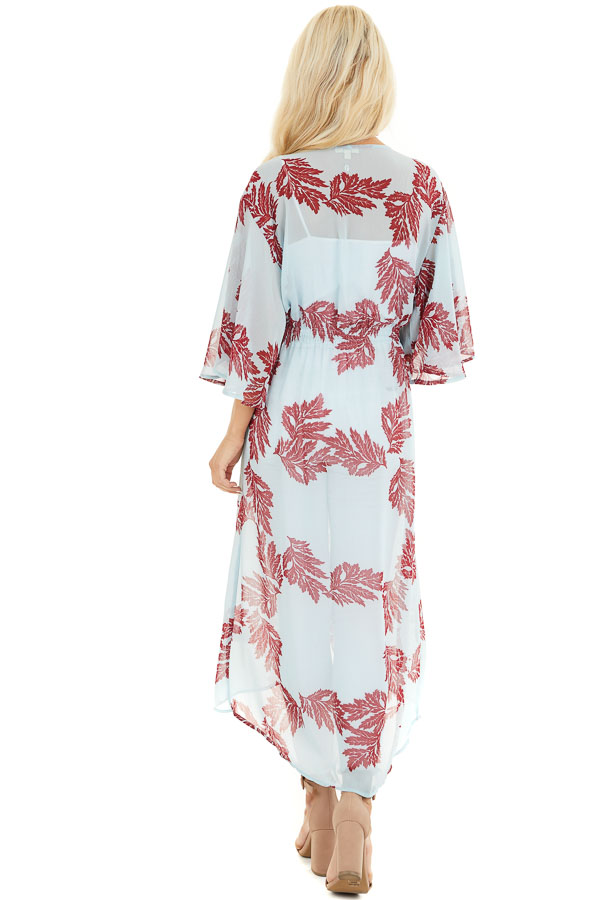 Sky Blue Leaf Patterned Chiffon Kimono with Trumpet Sleeves back full body