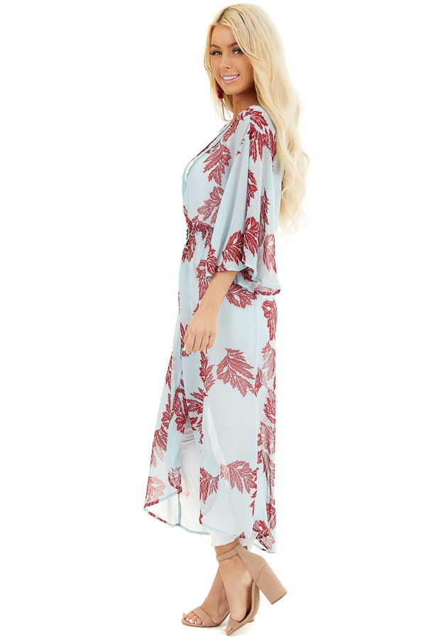 Sky Blue Leaf Patterned Chiffon Kimono with Trumpet Sleeves side full body