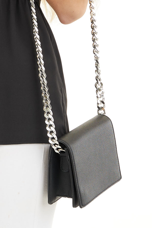 Black Faux Leather Box Clutch with Thick Silver Chain Strap