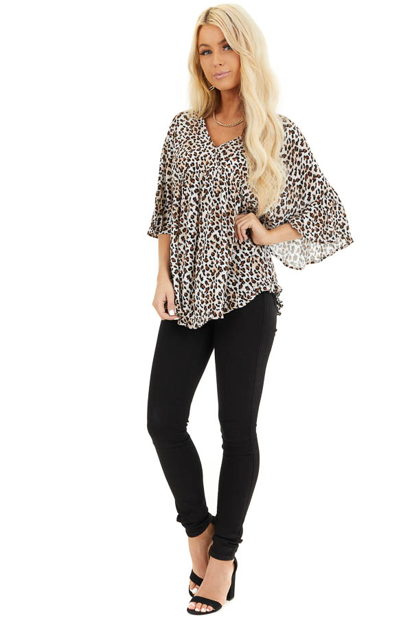 Cream Leopard Print V Neck Blouse with Batwing Sleeves front full body