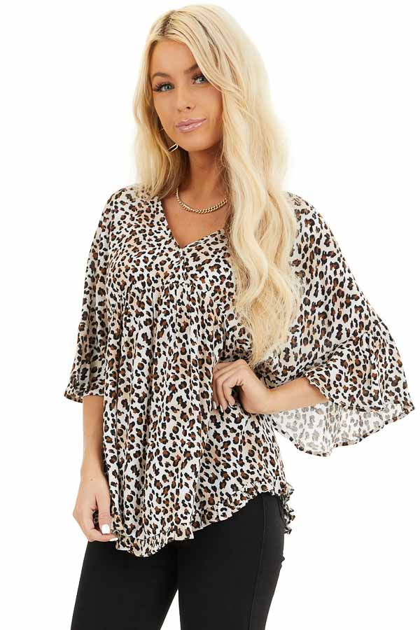 Cream Leopard Print V Neck Blouse with Batwing Sleeves front close up