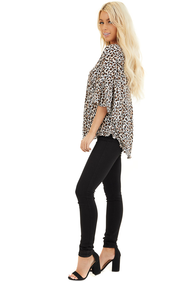 Cream Leopard Print V Neck Blouse with Batwing Sleeves side full body