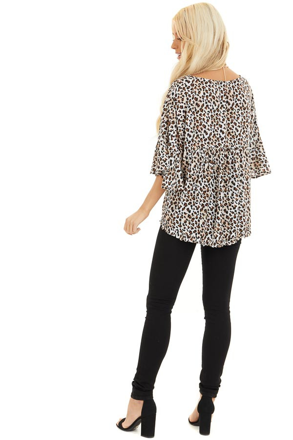 Cream Leopard Print V Neck Blouse with Batwing Sleeves back full body