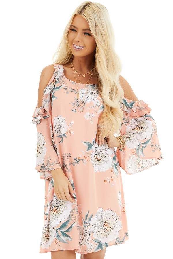 Salmon Floral Print Mini Dress with Cold Shoulder Detail front close up