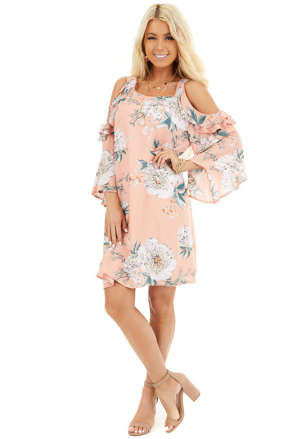 Salmon Floral Print Mini Dress with Cold Shoulder Detail front full body