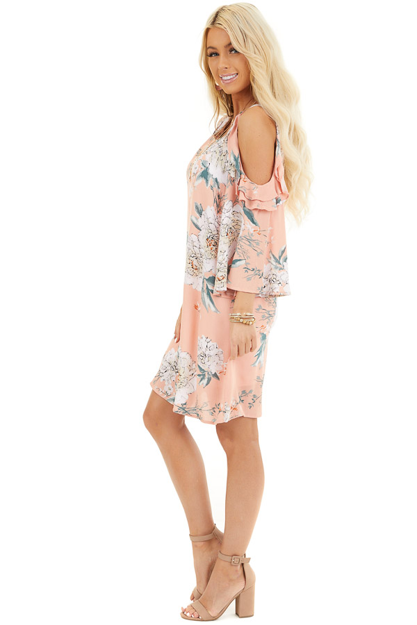 Salmon Floral Print Mini Dress with Cold Shoulder Detail side full body