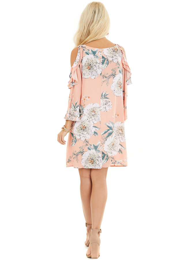 Salmon Floral Print Mini Dress with Cold Shoulder Detail back full body