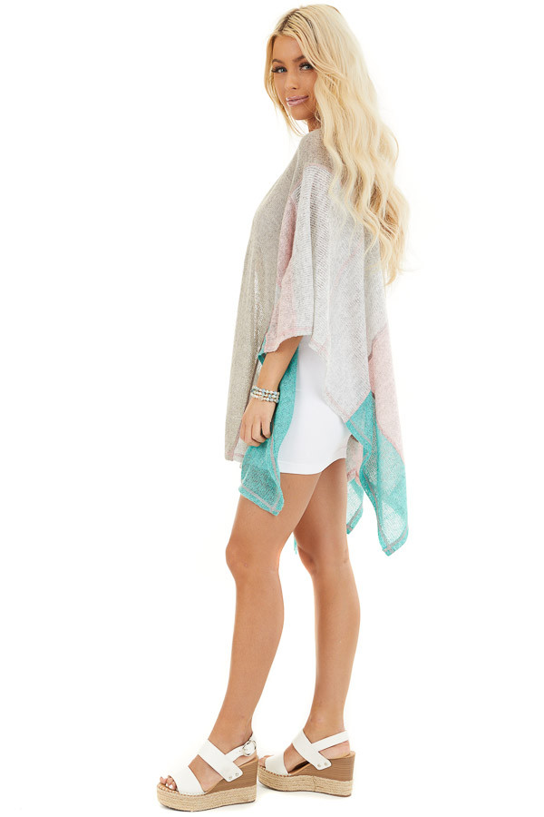 Taupe Blush and Mint Patchwork Poncho Shawl side full body