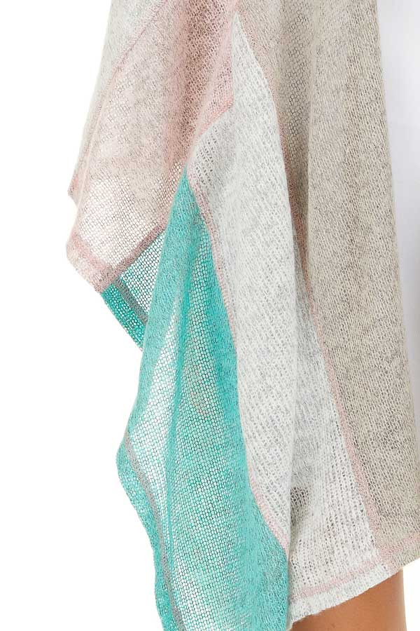 Taupe Blush and Mint Patchwork Poncho Shawl detail