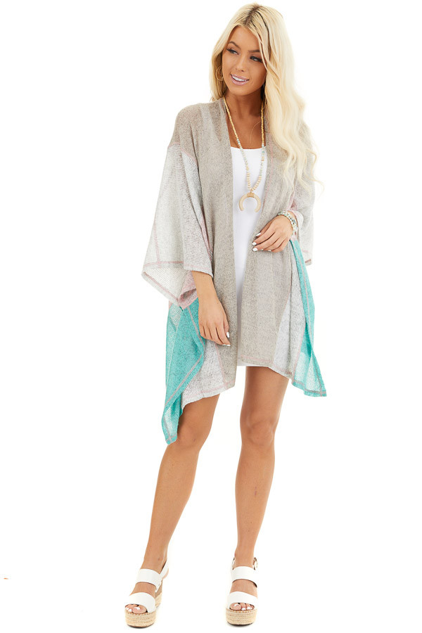 Taupe Blush and Mint Patchwork Poncho Shawl front full body