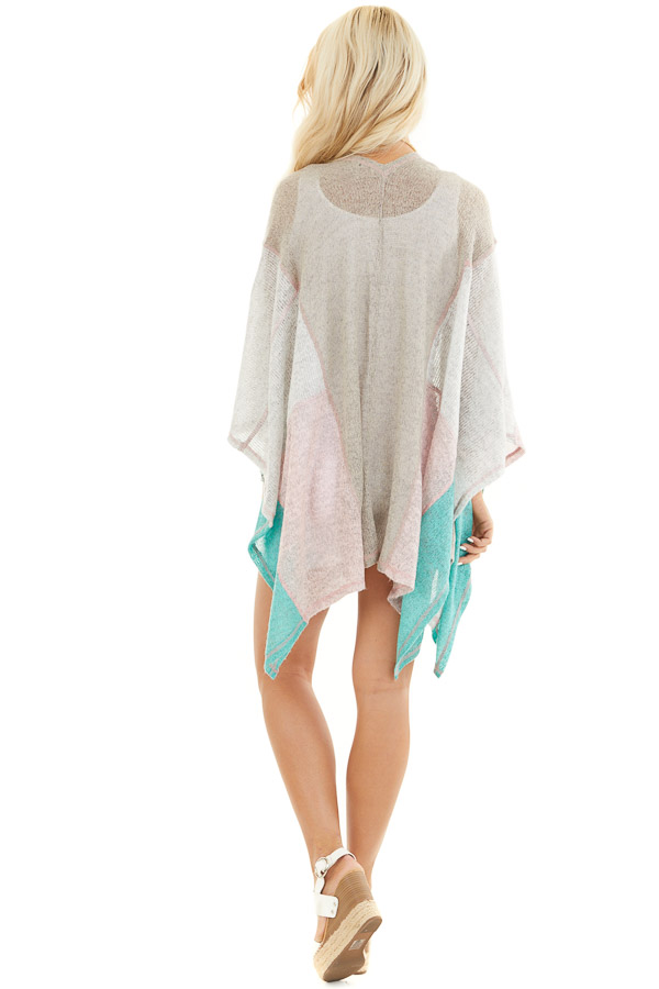 Taupe Blush and Mint Patchwork Poncho Shawl back full body