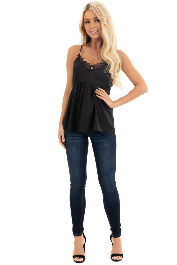 Black Tank Top with Adjustable Straps and Lace Details front full body