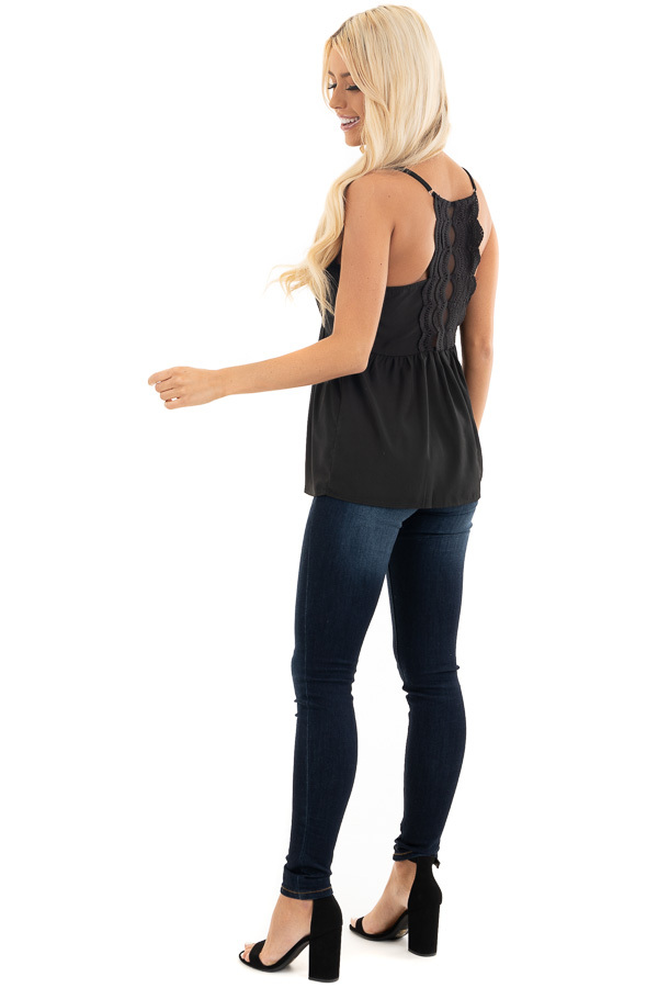 Black Tank Top with Adjustable Straps and Lace Details side full body