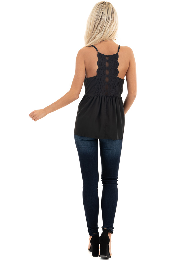 Black Tank Top with Adjustable Straps and Lace Details back full body