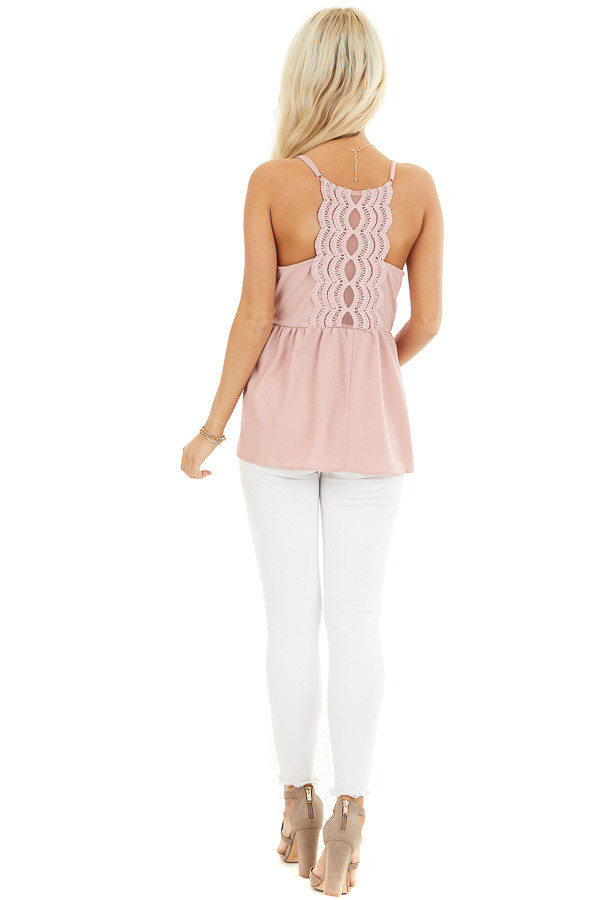 Dusty Blush Tank Top with Adjustable Straps and Lace Details back full body