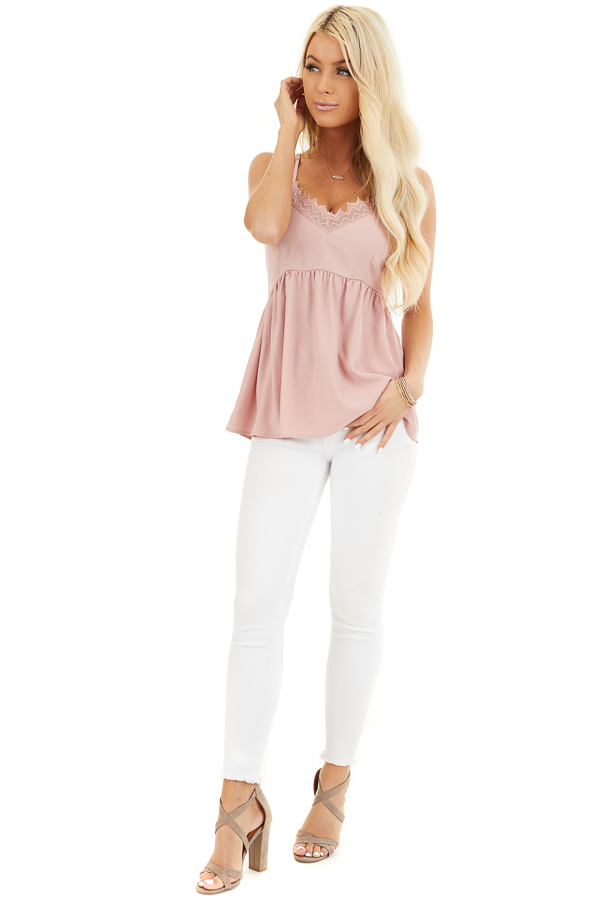 Dusty Blush Tank Top with Adjustable Straps and Lace Details front full body
