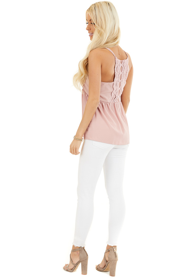 Dusty Blush Tank Top with Adjustable Straps and Lace Details side full body