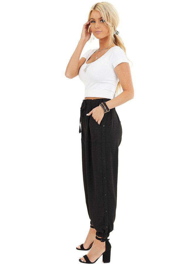Black Jogger Pants with Elastic Waist and Side Button Detail side full body