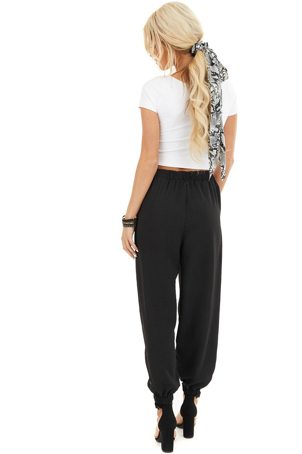Black Jogger Pants with Elastic Waist and Side Button Detail back full body